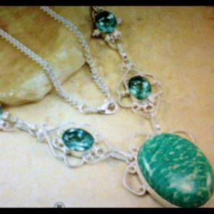 Gorgeous Turquoise & Blue Topaz Statement Neclace
