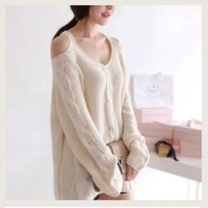 Off shoulder white sweater