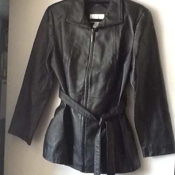 Worthington Jackets Coats Black Leather Jacket With Tie Belt