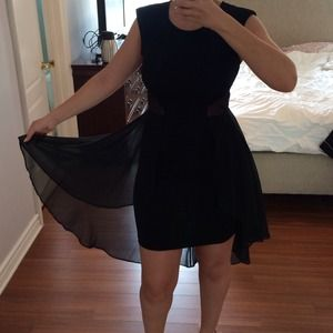 Bebe dress with sheer tule cut out