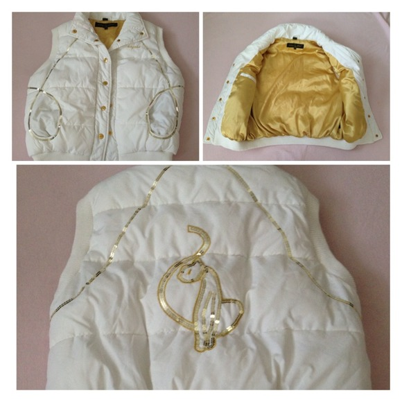 70% off Baby Phat Outerwear - Baby Phat white and gold puffy vest ...