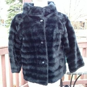 Jackets & Blazers - Vintage 1960s Black Faux Fur Coat