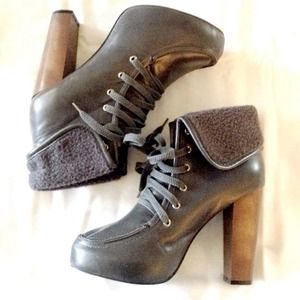 Urban Outfitters Shoes - Like NEW, worn once* Grey Platform Laceup Booties