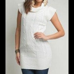 Ambiance Apparel Tops - Brand New Cream Sweater Tunic