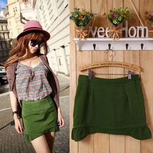 Dresses & Skirts - green skirt with ruffles