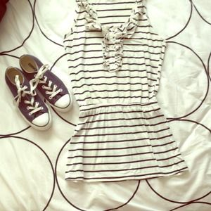 Navy blue and white striped spring dress