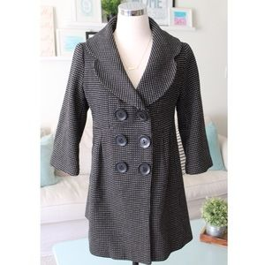 Polka Dot Double Breasted Pea Coat