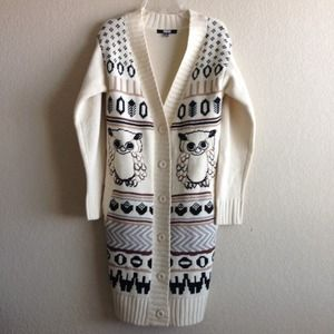 Asos Cream Owl Long Cardigan Coat