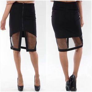 Dresses & Skirts - Black Sheer Midi Skirt