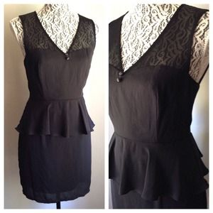 Black Peplum Mesh Dress