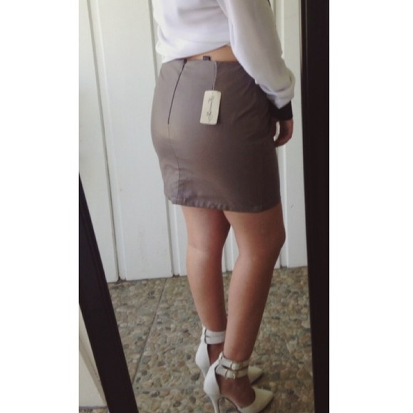 65% off Forever 21 Dresses & Skirts - Taupe Leather Skirt from ...