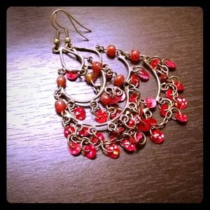 Red & Gold Boho Earrings