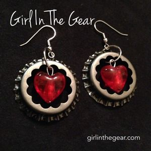 Jewelry - Bottle Cap Hearts Girl In The Gear Earrings