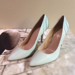Enzo Angiolini Shoes - Enzo Angiolini Powder Green Leather Pumps  NWOT