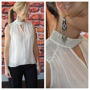 Ivory chiffon neck detail high low blouse