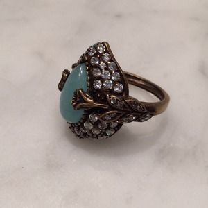 Antiqued gold plated ring