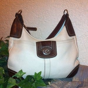 "Large Auth COACH ""Hamilton"" Ivory/Brown Hobo Bag"
