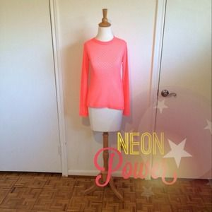 SALEHPNeon Coral Mesh Sleeved Sweater