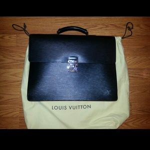 Louis Vuitton black leather briefcase