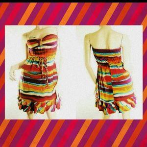 Dresses & Skirts - Rainbow ethnic print striped bandeau tube dress M