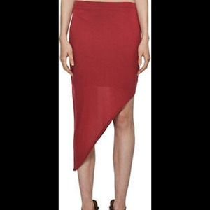 Helmut Lang Red Jersey Asymmetric Angle Skirt S