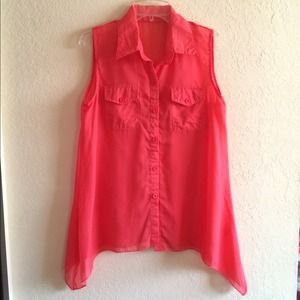 Tops - Pink Chiffon Sleeveless Button-up Blouse Shirt Top