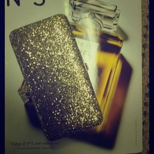 Gold glitter hard wallet