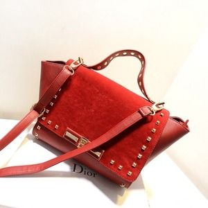 Handbags - Red metal stud trapeze shoulder bag
