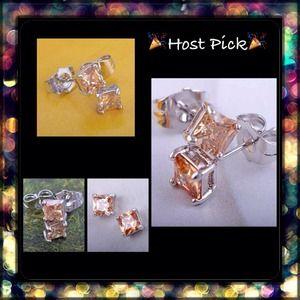 Jewelry - Final💲18k WGP 2 CTW Champaign CZ Earrings NWOT
