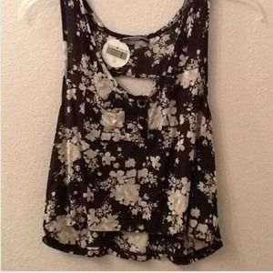 Brandy Melville Floral tank with cutout