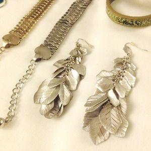 Mango Jewelry - Statement silver leaf earrings