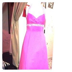 Dresses & Skirts - Nwt Pink prom dress 5/6 Roberta halter rhinestones