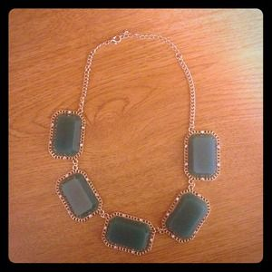 Green Stone Necklace on Gold Chain REDUCED