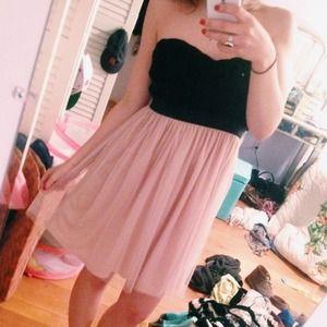Black & Pink Strapless Dress