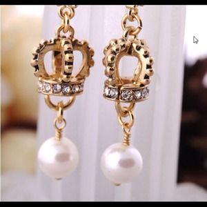 BJ Stylish ❤️Castle Crown Crystal Pearl Earrings