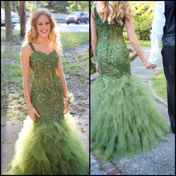Jazzy Couture Dresses Olive Green Prom Dress Poshmark