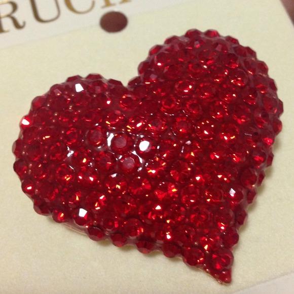 Rucinni Jewelry Swarovski Crystal Red Heart Brooch
