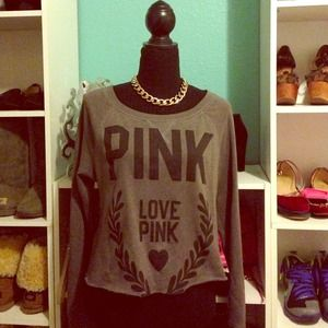 Gray VS Pink Crop Sweater