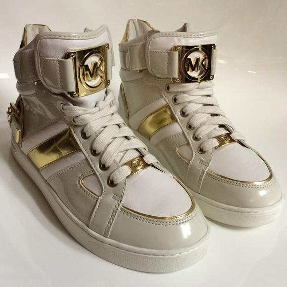 31 off michael kors shoes michael kors white gold hi. Black Bedroom Furniture Sets. Home Design Ideas