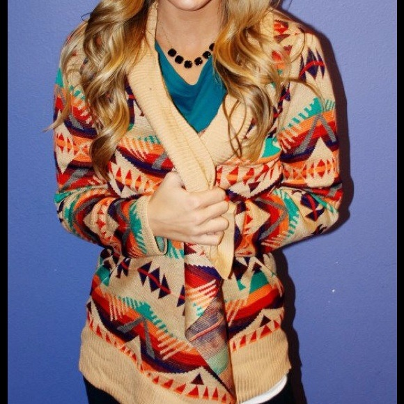 35% off blu pepper Sweaters - Multi color Aztec cardigan from ...