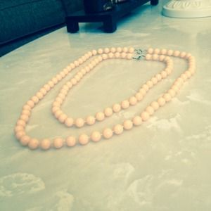 2 Pink pearl necklaces