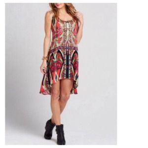 Dresses & Skirts - Boho Floral Print Hi-Lo Dress + Ribbon Tie