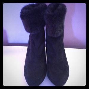 REDUCEDBlack Fur Booties Chinese Laundry