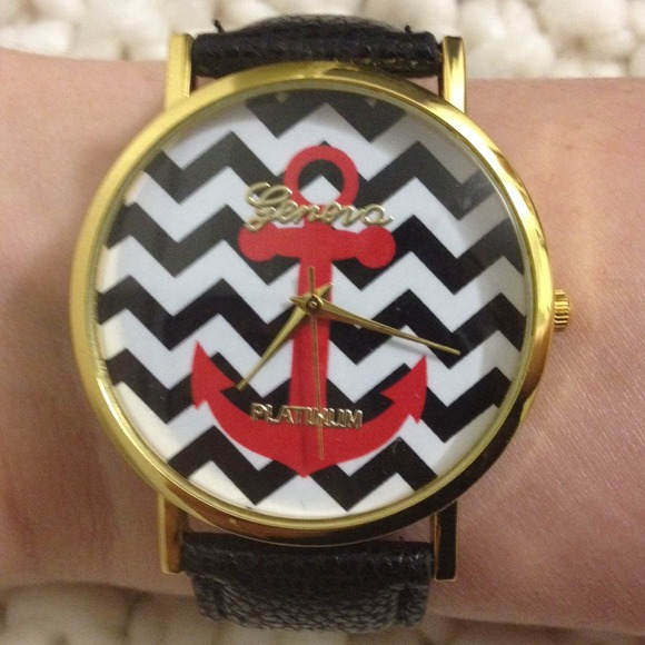 Geneva Accessories The Jerry Anchor Chevron Watch In Black Poshmark