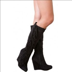 Boots - Faux Black Suede Knee High Wedge Boots + Fringe