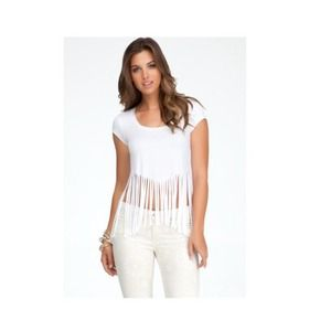 Bebe white fringe top💜💜