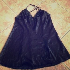 Dresses & Skirts - Black satin and lace Fredrick's of Hollywood.