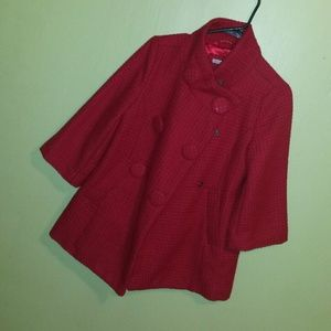 HOST PICK!!!**** Red Tweed 3/4 sleeve coat