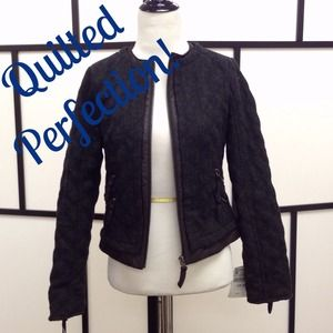 Zara Outerwear - Zara Charcoal Grey Quilted Jacket Blazer