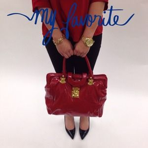 Handbags - Red Patent Satchel w/ Luxe Gold Hardware